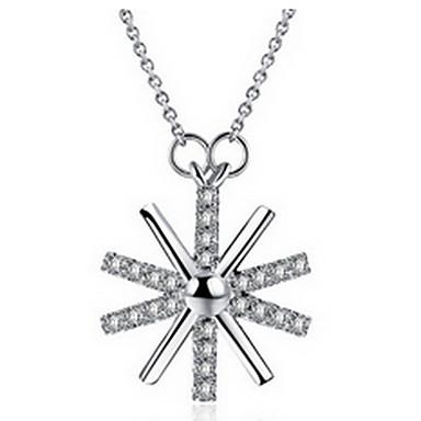 Feminino Colares com Pendentes Formato de Flor Spot de Luz Multi-Colorida Prata de Lei imitação de diamante LigaModa Adorável Jóias de