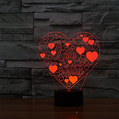 3d conduit en forme de coeur d'amour de lampe vacances romantiques nuit colorée nuit LightColor-lumière changeante