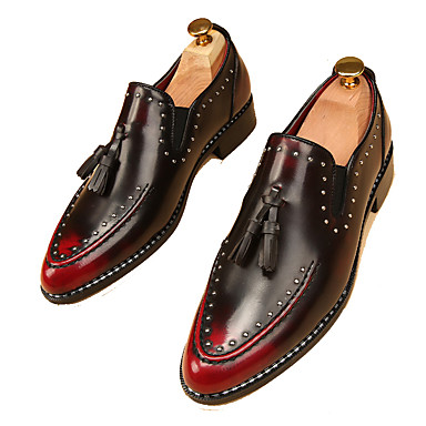 Herrn Schuhe Kunstleder Frühling Herbst Komfort Loafers & Slip-Ons Golf Shoes Niete für Normal Büro & Karriere Party & Festivität Schwarz
