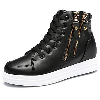 Feminino Sapatos Couro Primavera Verão Outono Conforto Botas Sem Salto Ziper Cadarço para Casual Branco Preto