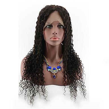 Ekte hår Blonde Forside Parykk Krøllet 130% tetthet 100 % håndknyttet Afroamerikansk parykk Naturlig hårlinje Kort Medium Lang Dame
