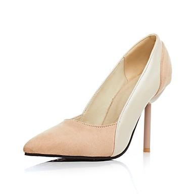 Damen Schuhe Vlies Sommer Herbst High Heels Stöckelabsatz Kombination für Normal Büro & Karriere Schwarz Beige