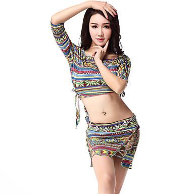 Tenue(Vert Violet,Viscose,Danse du ventre)Danse du ventre- pourFemme Motif/Impression Entraînement Danse du ventre Taille moyenne