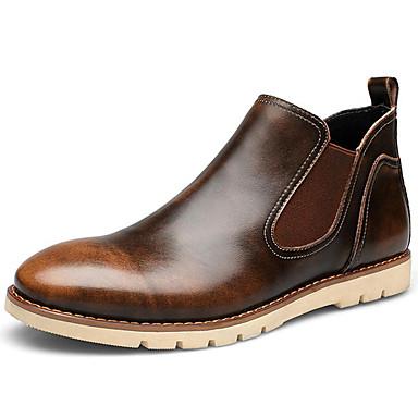 男性用 靴 ナパ革 冬 秋 コンバットブーツ カーボーイ/ウエスタンブーツ ブーツ 約15,24~20.32cm ブーティー/アンクルブーツ チェック のために カジュアル アウトドア ブラック Brown レッド