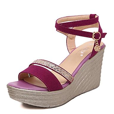 kvinners sko glitter sommer kiler / åpen tå sandaler kjole / uformell kilehæl glitrende glitter svart / fuchsia