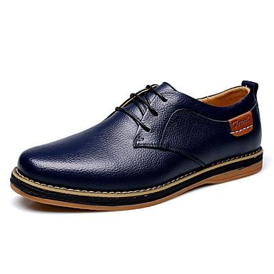 Masculino-Oxfords-Conforto-Salto Baixo-Preto Marrom Azul Marinho Laranja-Couro-Ar-Livre Escritório & Trabalho Casual
