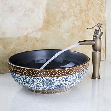 Antik Három lyukas Vízesés Réz szelep Egy furat Egy fogantyú egy lyukkal Antik bronz , Fürdőszoba mosogató csaptelep
