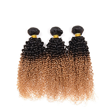3 paquetes Cabello Hindú Kinky Curly / Tejido rizado Cabello humano Ombre 10-26 pulgada Cabello humano teje Extensiones de cabello humano / Kinky rizado
