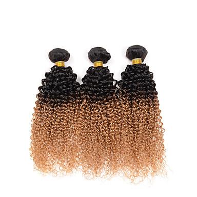 voordelige Weaves van echt haar-3 bundels Indiaas haar Kinky Curly Curly Weave 8A Echt haar Ombre 10-26 inch(es) Menselijk haar weeft Extensions van echt haar / Kinky krullen
