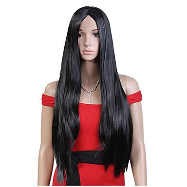 נשים פאות סינתטיות ללא מכסה ארוך ישר שחור פאות תלבושות