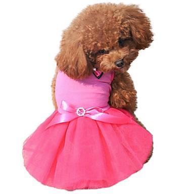 Kat Hond Jurken Hondenkleding Kleurenblok Kristal / Bergkristal Strik Zwart Geel Roos Groen Blauw Chiffon Katoen Kostuum Voor huisdieren