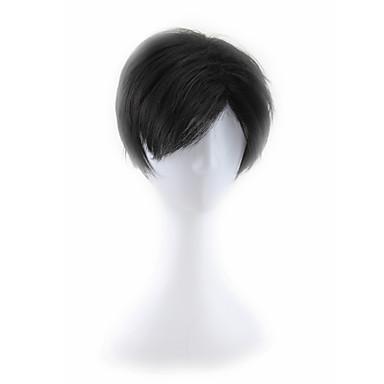 Syntetiske parykker Herre / Dame Lige Sort Syntetisk hår Sort Paryk Lågløs Sort