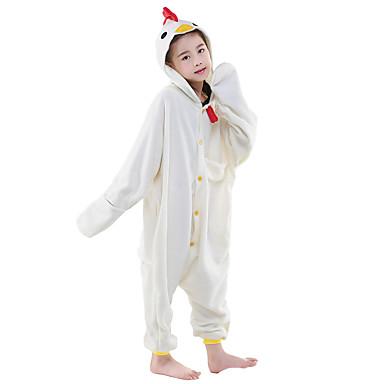 Kigurumi-pysjamas Hane/høne Onesie-pysjamas Kostume Polar Fleece Hvit Cosplay Til Barn Pysjamas med dyremotiv Tegnefilm Halloween