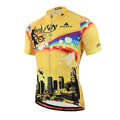 ada187b8a Miloto Men s Short Sleeve Cycling Jersey Stripes Bike Shirt Sweatshirt Jersey  Breathable Quick Dry Reflective Strips