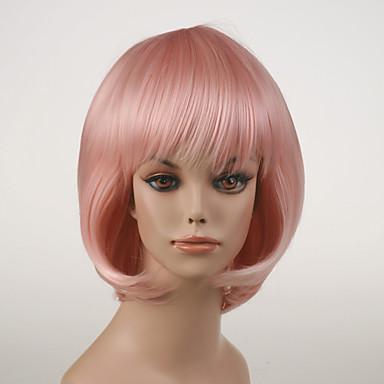 Vrouw Synthetische pruiken Zonder kap Natuurlijk golvend Licht Roze Bobkapsel Cosplaypruik Kostuumpruiken