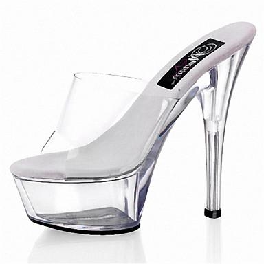 Dames Schoenen PVC Lente Zomer Club Schoenen Oplichtende schoenen Hoge hakken Naaldhak Kristallen hak Doorschijnende Hiel voor Bruiloft