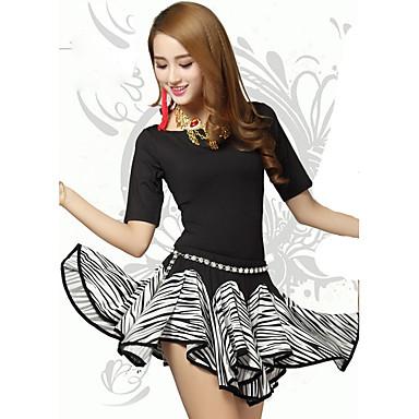 Buikdans Outfits Dames Opleiding Polyester Geplooide 2-delig Halve mouw Natuurlijk Top Rok