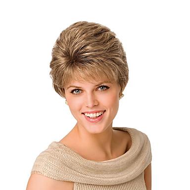 Syntetiske parykker Lige / Naturligt, bølget hår Gyldent Assymetrisk frisure Syntetisk hår Natural Hairline Gyldent / Blond Paryk Dame Kort Lågløs