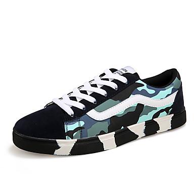 Herre-PU-Flat hælFlate sko-Fritid-Blå Grønn
