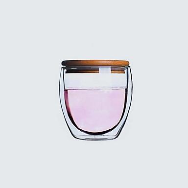 varmebestandig isolasjons dobbelt glass gjennomsiktig kopp med lokk (250ml)