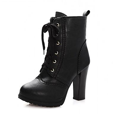 Feminino-Saltos-Botas de Cowboy Botas de Neve Botas Montaria Botas da Moda-Salto Grosso-Preto Marrom Caqui-Sintético Couro Envernizado