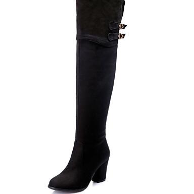 Støvler-Kunstlæder-Hæle / Modestøvler-Dame-Sort / Blå-Udendørs / Kontor / Hverdag-Tyk hæl