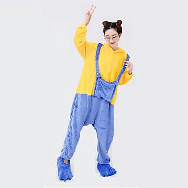 Kigurumi-pyjamas Mini Gule Mænd Onesie-pyjamas Kostume polyester Cosplay Til Voksne Nattøj Med Dyr Tegneserie Halloween Festival /