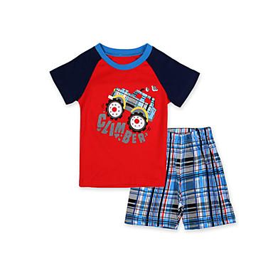 Baby Jungen Zeichentrick Patchwork Kurzarm Baumwolle Kleidungs Set / Schlafanzüge