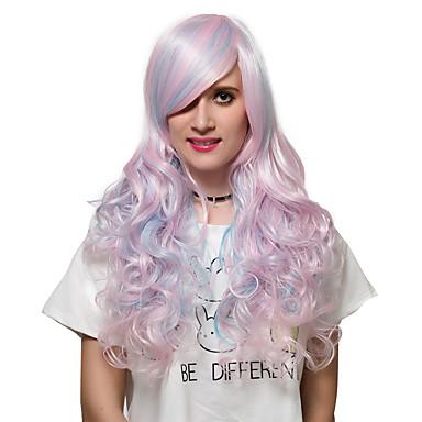 Vrouw Synthetische pruiken Zonder kap Erg lang Licht Roze Capless Pruiken Kostuumpruiken