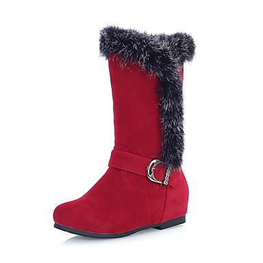 Støvler-Kunstlæder-Modestøvler-Dame-Sort Blå Brun Rød Marineblå-Udendørs Kontor Fritid-Kilehæl