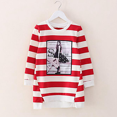 cheap Girls' Tops-Kids Girls' Stripes Daily Striped Long Sleeve Long Cotton Tee Black