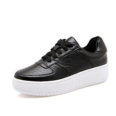 Sneakers-Læder-Rund tå / Lukket tå / Komfort-Dame-Sort / Hvid-Hverdag-Platå