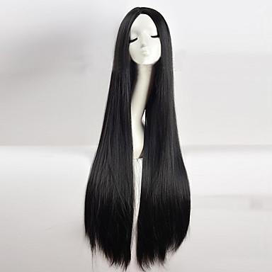 Synthetische Perücken / Perücken Glatt / Kinky Glatt Kardashian Stil Asymmetrischer Haarschnitt Kappenlos Perücke Schwarz Schwarz Synthetische Haare Damen Natürlicher Haaransatz / Mittelscheitel