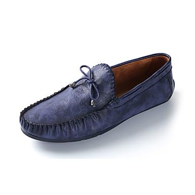 Fladsko-Læder-Komfort-Herre-Blå Brun-Fritid-Flad hæl