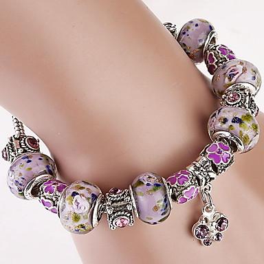 abordables Bracelet-Breloque Charms Bracelet Bracelet à Perles Bracelet en cristal Femme Perlé Cristal Cristal dames Mode Bracelet Bijoux Violet pour Regalos de Navidad