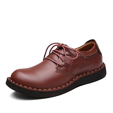 Herre-Lær-Flat hæl-Komfort-Oxfords-Fritid-Brun Rød