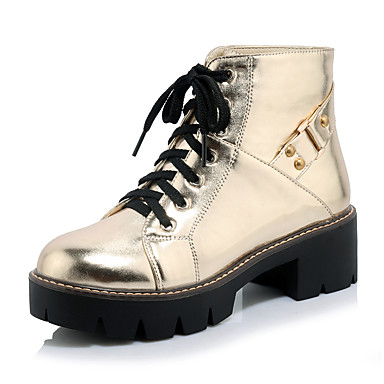 Feminino Sapatos Gliter Courino Outono Inverno Botas Plataforma Presilha Cadarço Para Casual Social Preto Prata Rosa claro Dourado