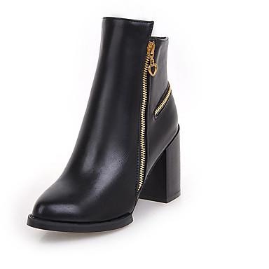 Calçados Femininos-Botas-Bico Fino / Botas da Moda-Salto Grosso-Preto / Vermelho-Courino-Escritório & Trabalho / Social / Casual / Festas