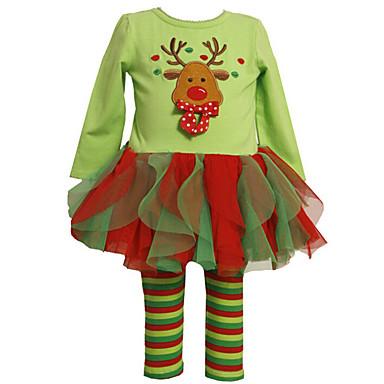 Недорогие Костюмы для девочек-Дети (1-4 лет) Девочки Для вечеринок Полоски Длинный рукав Хлопок Набор одежды Зеленый