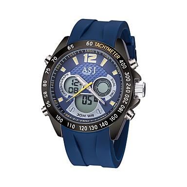 ASJ Herrn Digitaluhr Japanisch Kalender / Wasserdicht / Kompass Caucho Band Luxus / Freizeit Blau / leuchtend / LCD / Duale Zeitzonen / Stopuhr / Nachts leuchtend