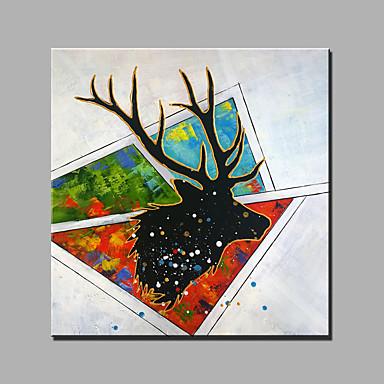 Handgeschilderde Abstract Dieren Vierkant, Klassiek Modern Kangas Hang-geschilderd olieverfschilderij Huisdecoratie Eén paneel