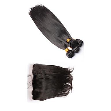 Peruanisches Haar Haar-Einschlagfaden mit Verschluss Gerade Haarverlängerungen 4 Stück Schwarz Naturfarbe