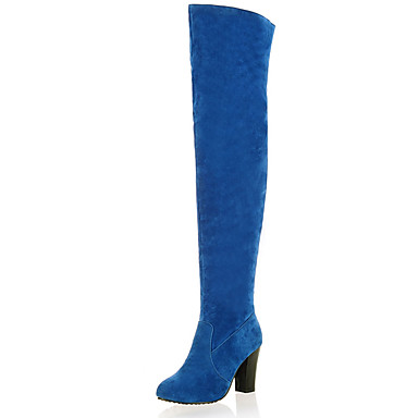 Støvler-Kunstlæder-Modestøvler-Dame-Sort Blå Grå-Udendørs Kontor Fritid-Tyk hæl