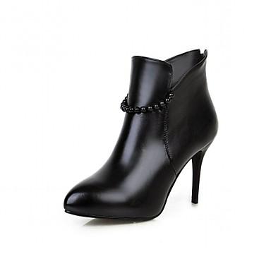 Feminino-Saltos-Botas de Cowboy Botas Montaria Botas da Moda-Salto Agulha-Preto Vermelho Branco-Sintético Couro Envernizado Courino-