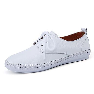 Dame-Lær-Flat hælFlate sko-Friluft Fritid-Svart Rosa Hvit