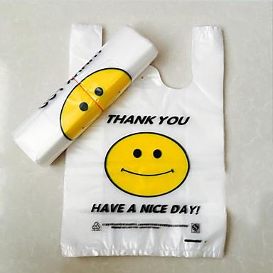 sacos de plástico transparentes colete bolso conveniente sacos de supermercado rosto sorridente mais grossos personalizadas dois pacotes