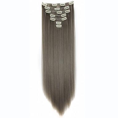 klip i hair extensions 22inch 7pcs / sæt 130g varmebestandighed fiber glat hår klip i syntetisk hår extensions