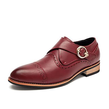 Miesten kengät Nahka Kevät Syksy Comfort Mokkasiinit Tarranauhalla varten Kausaliteetti Musta Keltainen Ruskea