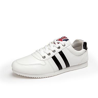 Sneakers-Mikrofiber-Komfort-Herre-Sort Hvid-Udendørs Fritid Sport-Flad hæl