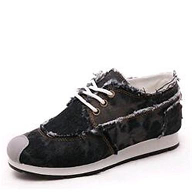 Sneakers-Kanvas Denim-Komfort-Dame-Sort Blå-Udendørs Sport-Flad hæl